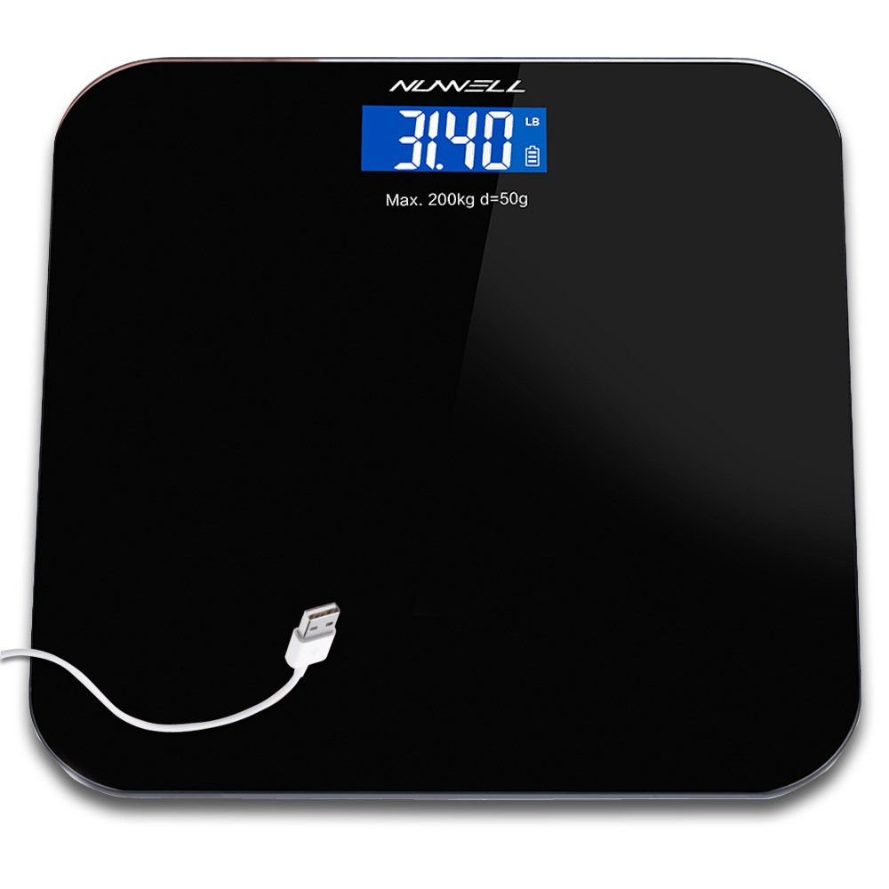 Rechargeable Bathroom Scale, NUWELL USB Charging 1st Digital Body Weight Health Scale with Large 3. 5'' LCD Display Auto-On Technology and Sensor Accuracy for Superior Readings – 440lbs Max (Black)