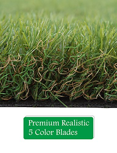 GOLDEN MOON Outdoor Turf Rug Premium Artificial Grass Mat 1 1/2'' Blade Height 5-Tone Realistic & Soft Series Green 3x6ft (18sq ft) by GOLDEN MOON (Image #4)