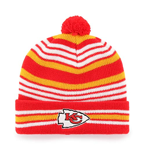 (NFL Kansas City Chiefs Kid's Rickshaw OTS Cuff Knit Cap with Pom, Torch Red, Kid's)