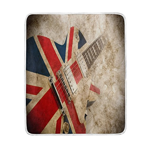 - ALAZA Home Decor Vintage Guitar Music British Flag Blanket Soft Warm Blankets for Bed Couch Sofa Lightweight Travelling Camping 60 x 50 Inch Throw Size for Kids Boys Women