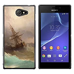 Exotic-Star ( Storm Painting Sailing Art Waves ) Fundas Cover Cubre Hard Case Cover para Sony Xperia M2 / Xperia M2 Aqua / Sony Xperia M2 Dual