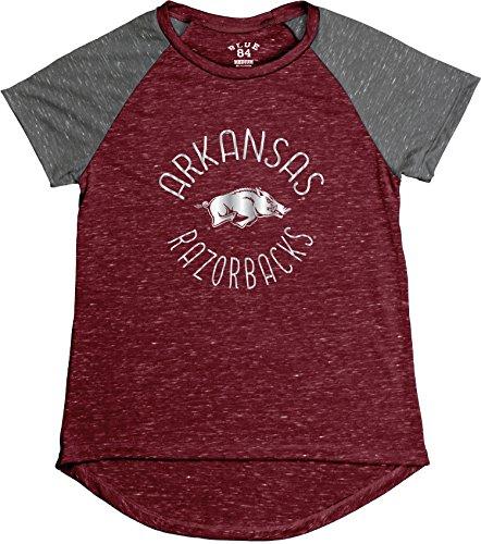 Blue 84 NCAA Arkansas Razorbacks Women's Gracie Confetti Raglan Tee, Large, Cardinal (Classic Razorbacks T-shirt Arkansas)