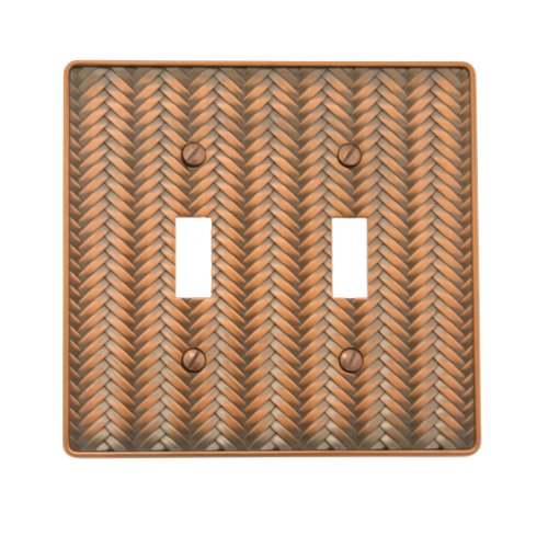 - AmerTac 89TTAC Weave Cast Metal Double Toggle Wallplate, Antique Copper