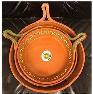 Made in Mexico Barro Juego De Sartén Mexicano Mexican Clay Skillet Frypan Set of 3 Lead