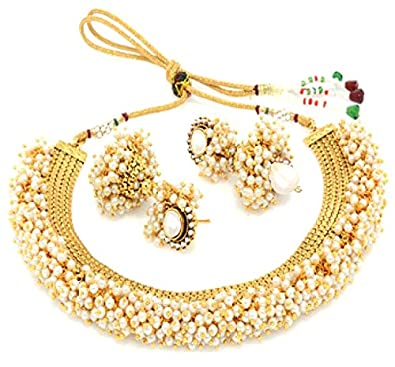 Buy YouBella Jewellery Exclusive Gold Plated Pearl Studded Traditional  Temple Necklace Set for Women Jewellery Set with Earrings for Girls and  Women Online ... 16af50a17d