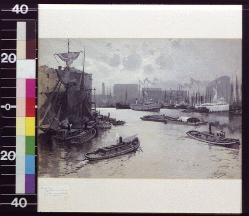 Photo: Harbor in city,C. Graham,1888,Ships,Tugboats,Commercial Facilities,Boats