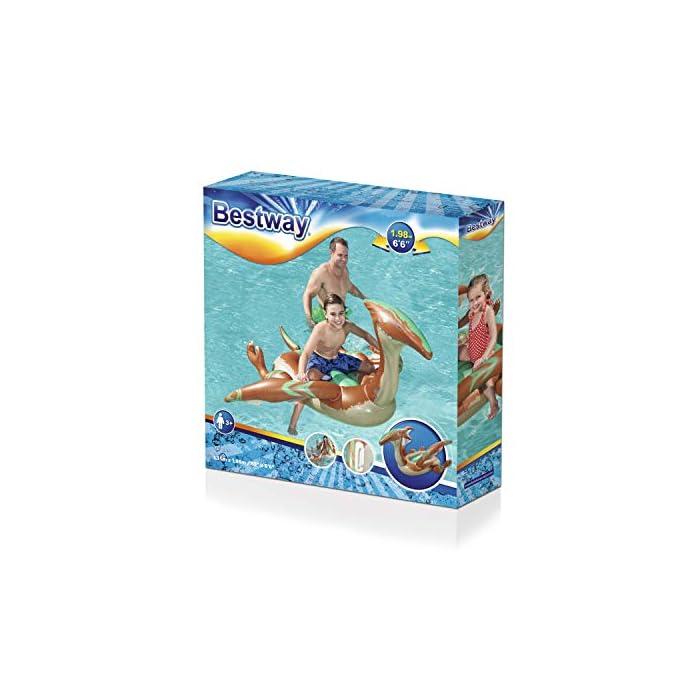 516HYE4V8XL Tiene un diseño a todo color de dinosaurio con grandes alas con agarraderas para flotar con seguridad El complemento para la piscina o mar para que tus hijos se diviertan mientras se refrescan Tiene unas medidas de 198x164 cm indicado para 1 niño