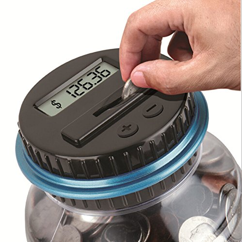 Coin Counting Jar - Digital Counting Coin Bank Creative Large Money Saving Box Jar Bank LCD Display Coins Saving