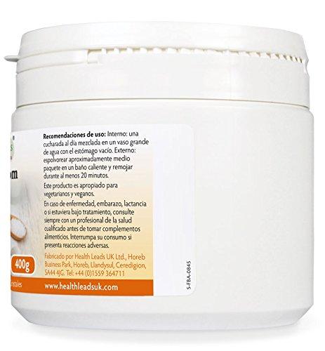 Sales de Epsom puros 400g | Calidad alimentaria | Sulfato de magnesio | Muy conocido por relajar músculos cansados y doloridos después de practicar deporte ...