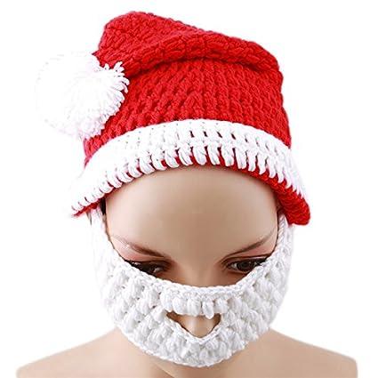 9d5e5dc318ded Amazon.com  Rurah Cute Crochet Wool Knit Santa Hat and Beard Set for ...