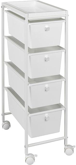 Wenko Schubladenwagen Gala Haushalts-Rollwagen, Küchenwagen, 4 Schubladen  pulverbeschichtetes Metall weiß 38,5 x 22,5 x 76,5 cm
