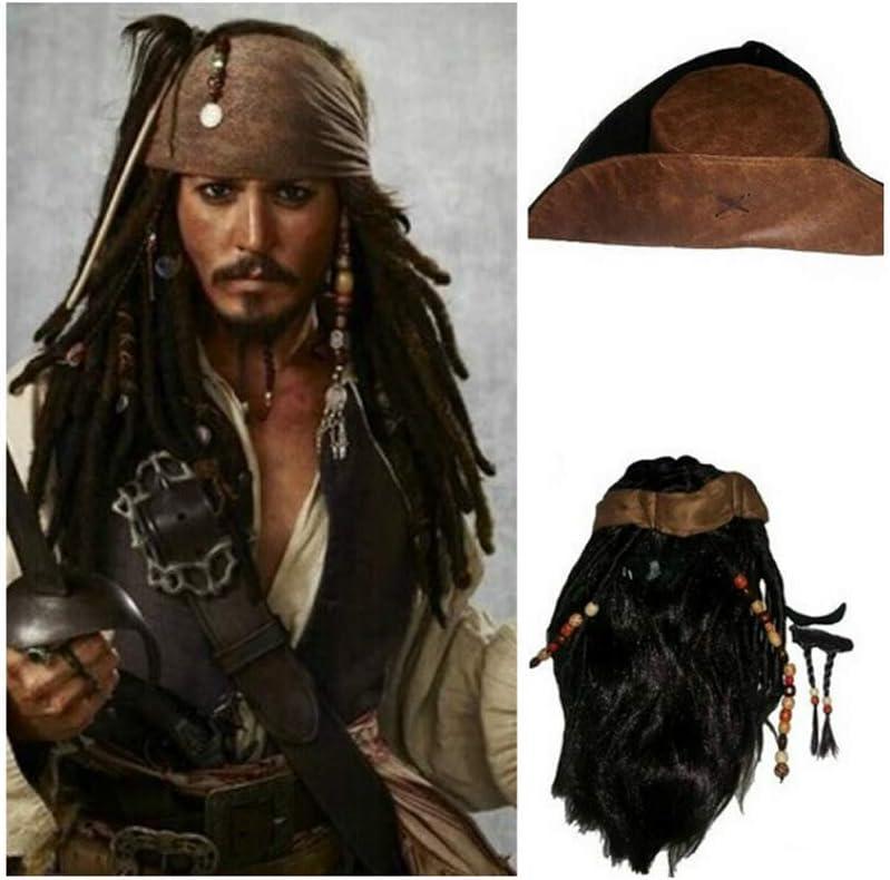 RedJade Pirates of The Caribbean Jack Sparrow Peluca & Sombrero ...