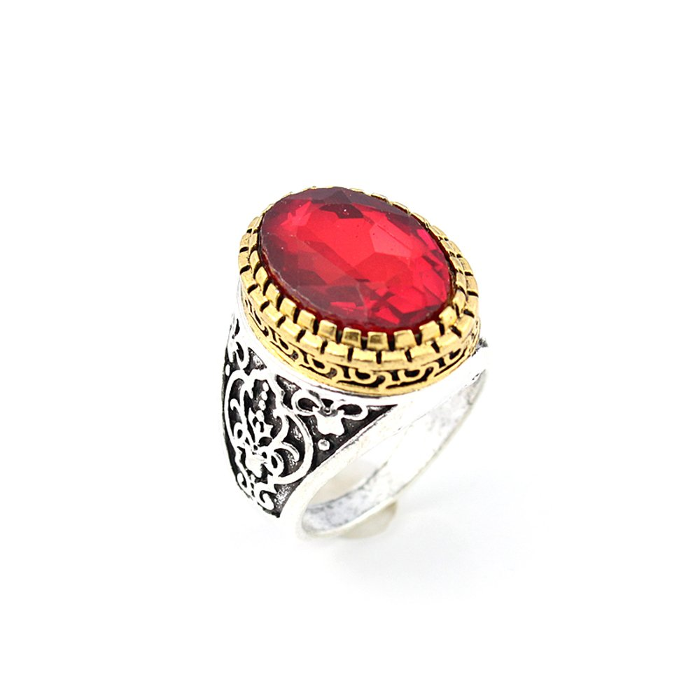 BEST QUALITY GARNET FASHION JEWELRY SILVER PLATED AND BRASS RING 10 S22876