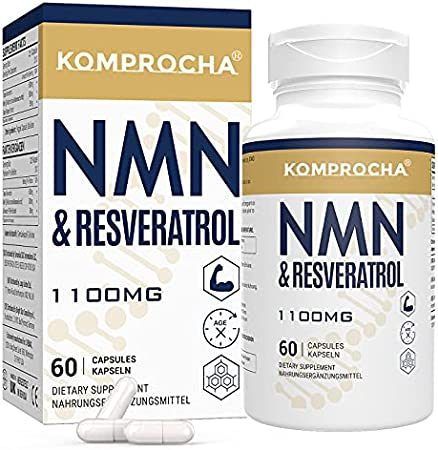 NMN + Trans-Resveratrol 99% Purity+ Black Pepper 1100mg, for Max Absorption, Powerful Antioxidant & Anti-Aging Supplements for Heart, Immune & Skin Health (60 Capsules (Pack of 1))