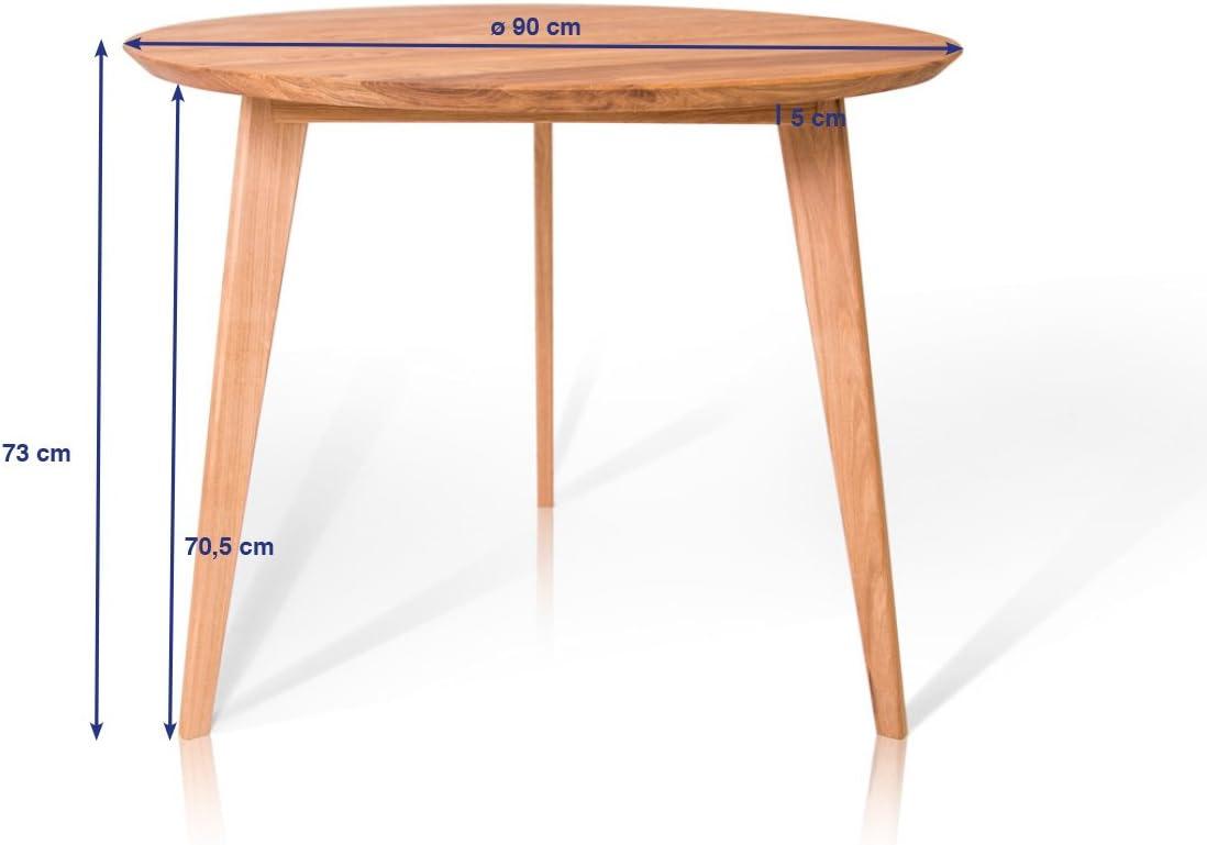 moebel-eins Austin Esstisch rund 30 cm, Material Massivholz, Wildeiche