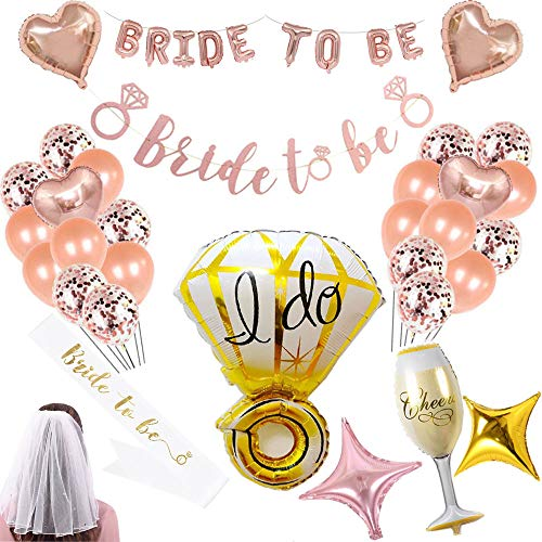 bachelorette party supplies kit - bachelorette party favors Decorations whit Balloons Banner Bridal Wedding Veil with Comb and Bride to Be Satin Sash]()