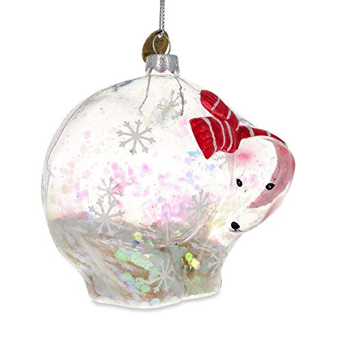 BestPysanky Clear Polar Bear with Scarf and Glitter