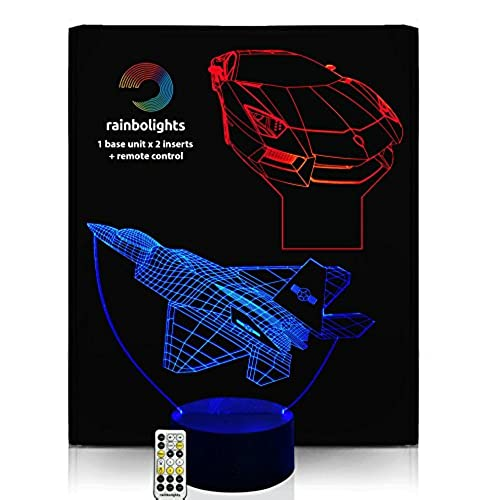 Best gifts 5 year old boy amazon birthdays gifts for boys 3d illusion night light desk lamp 7 color 2 designs plane car with remote controller inc dimmer by rainbolights new product negle Images
