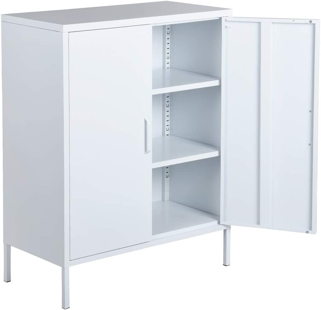 HouseinBox Double Door Locker Modern Style Metal Cabinet with 30 Shelves for  Living Room, Bedroom and Office White