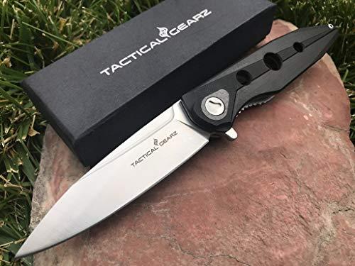 (TG Xion, Premium G10 /Carbon Fiber EDC Folding Knife w/Sheath! Ball Bearing Pivot System, Razor Sharp 9Cr18MoV Satin Stainless Steel Spear Blade! (G10))