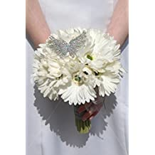 Off White Real Touch Gerbera Wedding Bridal Bouquet w/ Brooch