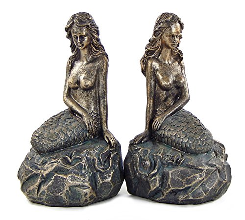 Decor Home Bookends (Bellaa 23460 Mythical Mermaid Bookends - Nautical- Book Ends - Coastal Home Decor)