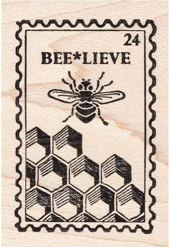 Bee Post Rubber Stamp Faux Postage