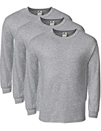 Alstyle Men's Classic Cotton Crew Neck Long Sleeve Plain T-Shirt 3-Pack-Assorted