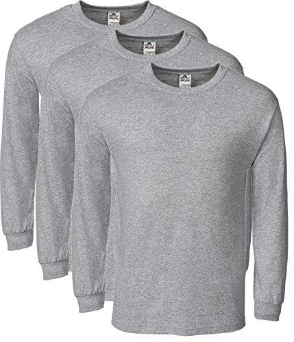(Alstyle Men's Classic Cotton Crew Neck Long Sleeve Plain T-Shirt 3-Pack-Assorted (Small, Athletic Heather, Athletic Heather, Athletic Heather))