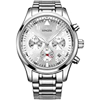 SONGDU Mens Chronograph Quartz Analog Wrist Watch Auto Date with Luxury Stainless Steel Band (Silver V2)