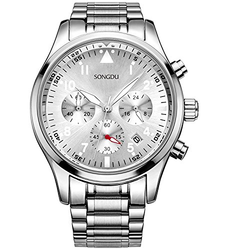SONGDU Mens Chronograph Quartz Analog Wrist Watch Auto Date with Luxury Stainless Steel Band (Silver V2) -