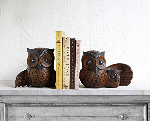 Store Indya Wooden Book Ends Handcrafted CD Dvd Stand Rack Shelf Decorative Display Pair Bookend for Bookshelf Holder Home Office School Library Desk Tabletop Organizer (Owl Family Collection) by storeindya