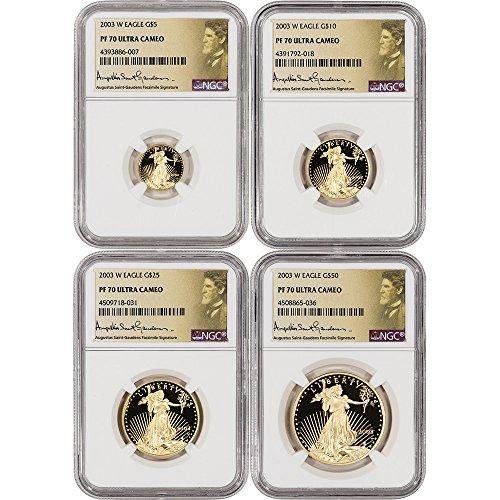 2003 W American Gold Eagle 4-pc Proof Set Saint Gaudens Label PF70
