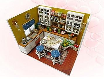 Amazon Com K001 Miniature Diy Wooden Doll House Kitchen