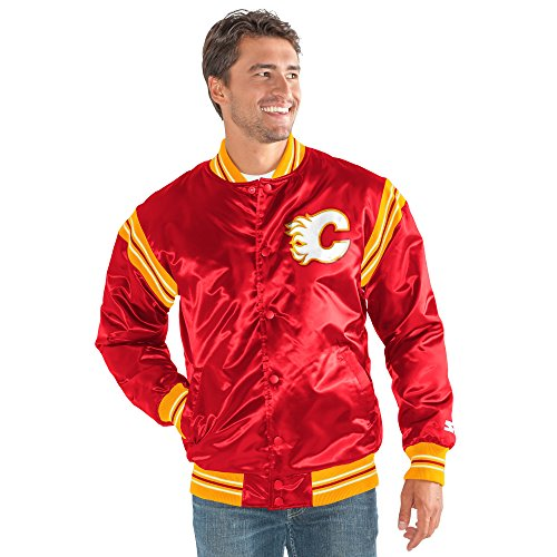 STARTER NHL Calgary Flames Men's The Enforcer Retro Satin Jacket, Large, Red