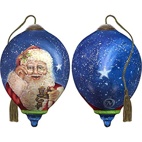 Ne'Qwa Art Hand Painted Blown Glass Magic of Christmas Santa Ornament, Claus -
