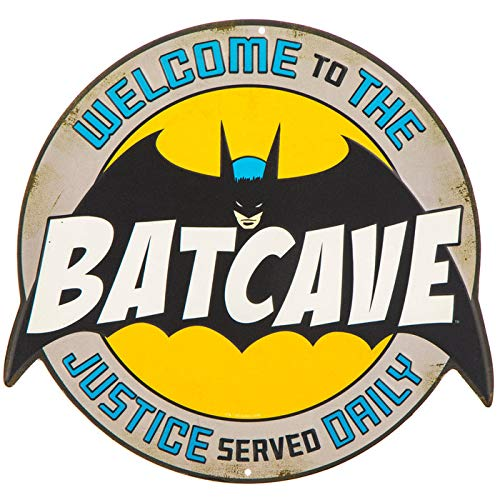 Batman Batcave Embossed Die Cut Metal Sign Wall Art Home Decoration Theater Media Room Man Cave