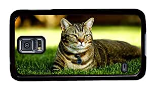 Hipster Samsung Galaxy S5 Case good cover cute cat lawn PC Black for Samsung S5