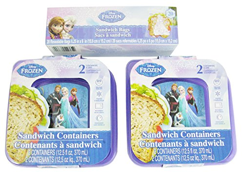Disney Frozen Lunch Containers Bundle - (2) 2-Pack Sandwich Containers with Lids and (1) 20 Pack Sandwich Bags (Set of 4 Containers and 20 Bags)
