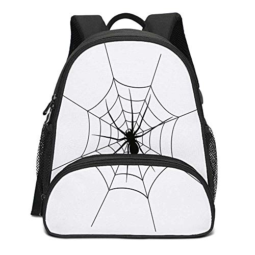 Spider Web Durable Kids Backpack,Black Spooky Spider Weighs on a Web Creepy Crawly Organism Tangled Monochrome for School Travel,10