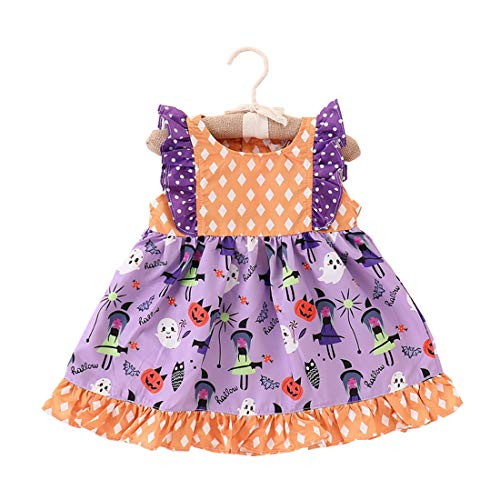 iPurply Toddler Kids Baby Girls Halloween Sleeveless Ruffles Multicolored Costumes Outfits A-line Princess Dress -