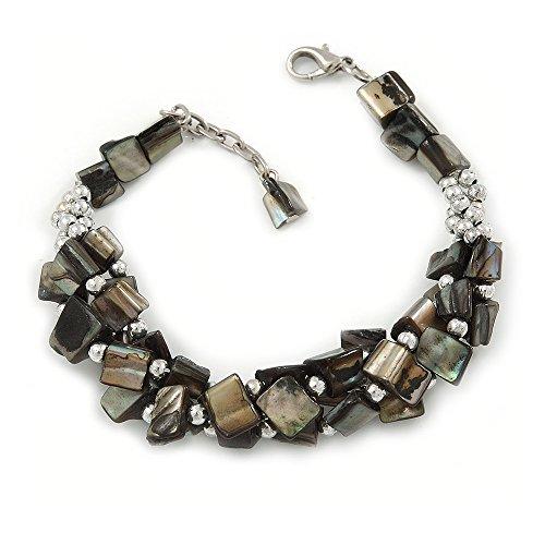 - Avalaya Grey Shell Nugget, Silver Tone Bead Twisted Bracelet - 19cm L/ 3cm Ext