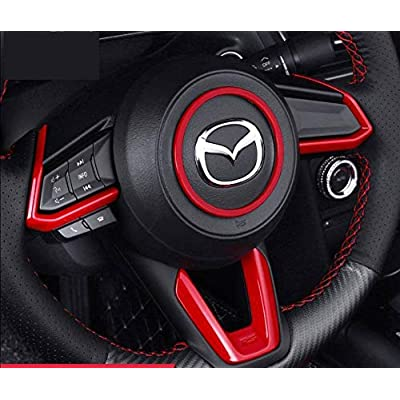 Duoles Red Sport Carbon Fiber Print Interior Steering Wheel Trim for Mazda 3 6 CX-4 CX-5 CX-9: Automotive