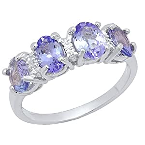 Sterling Silver 6X4 MM Oval Cut Tanzanite & Round Diamond Accent Bridal Engagement Ring (Size 6)