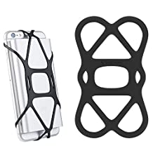 Silicone Band Holder for Power Bank, SINJIMORU X Grip Silicone Security Band holding Power Banks on Smartphone, Phone Mount Holder Straps for Bikes / Bicyles. Sinjimoru X Grip, Black, 1pc.