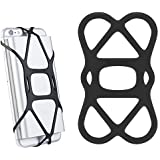 SINJIMORU Elastic Band Holder for Portable Charger, Rubber Band Phone Holder for Power Bank on Smartphone, Phone Lock Holder Strap for Bike Mount. Sinjimoru Silicone Band Holder, Black, 1pc.