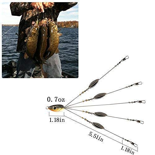 Ilure 5 Arms Alabama Umbrella Rig Fishing Ultralight Tripod Bass Lures Bait Kit Junior Ultralight Willow Blade Multi-Lure Rig (bluegray) by Ilure (Image #4)
