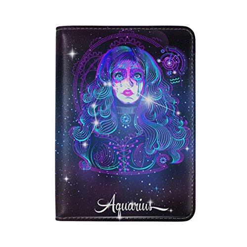 12 Constellation Zodiac Signs Aquarius Leather Passport Cover - Holder - for Men & Women - Passport Case