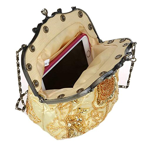 EPLAZA Clutch Sequin Women Satin B Bags Purse Retro Beaded Evening Rhinestone Party Handbags BgrgqEwY