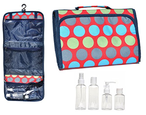 [New Large Polka Hanging Travel Makeup Toiletries Cosmetic Bag Case Organizer with 4 Pack Travel Size Bottle Set Gift Idea Teen Girls Women Mom] (Last Minute Costume Ideas College)
